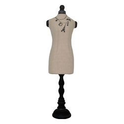 Enchante Accessories Inc - Sheffield Home Jewelry Holder Bodice with Necklace Design, 27-Inch, Shabby Black - Linen jewelry holder bodice