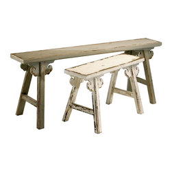 Cyan Design - Cyan Design Amish Style Benches - Pack of 2 X-45240 - Distressed detailing adorns every edge and curve of the body on each of these Cyan Design benches. These Amish style benches are available as a two pack and they pair their beautiful detailing with elegant off-white coloring that plays off the antique, vintage appeal.