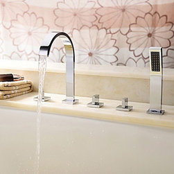 Bathtub Faucets - Brass Tub Faucet with Hand Shower (Chrome Finish)--FaucetSuperDeal.com