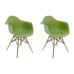 Ariel - Set of 2 Eames Style Molded Green Plastic Dining Armchair W/ Wood Eiffel Legs - A true modern classic design, this classic dining armchair with wood Eiffel legs remains popular today in cafes, home offices, and dining areas. Sporting a clean, simple, retro, yet modern design sculpted to fit the body, this gorgeous armchair is the perfect addition to the home or office. Also available in white, red, or light blue.