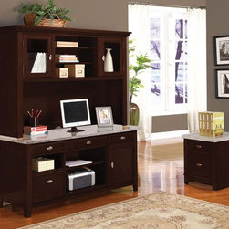 Acme Furniture - Britney Faux Marble Office Hutch and Desk Set - 92012-92013 - Britney collection Office Desk