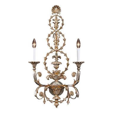 "Inviting Home - Adam Style Sconce - carved wood Adam style wall sconce in antiqued silver-leaf; 17"" x 31-1/2""H ; hand-crafted in Italy; This electrified wall sconce is hand-crafted in the Adam style from carved wood and wrought iron. Wall sconce has a leaf motif and richly embellished two-way scrolled arm. Expertly applied antiqued silver leaf finish adds a sense of history while highlighting the incredibly detailed design of the sconce. This wall sconce has a stylish sculptural qualities that are an assertive form of artistic expression. UL approved - dry location; hardwire; 2x 60W max. candelabra bulds; bulbs not included. Handcrafted in Italy."