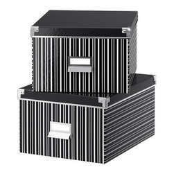 J Karlsson/E Jones - KASSETT Box with Lid for Paper, Black/White - Mix and match the storage boxes to add some flair.