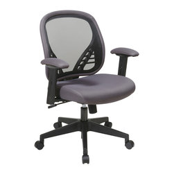 Office Star - Office Star DuraGrid Back and Charcoal Mesh Seat Managers Chair - DuraGrid Back and Charcoal Mesh Seat Managers Chair with Adjustable padded arms and angled nylon base.  Pneumatic Seat Height adjustment, pivot point tilt, 360? swivel, 2 to 1 Synchro Tilt with tilt tension and lock What's included: Office Chair (1).