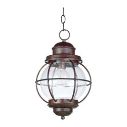 Design Craft - Elton 1-light Copper Indoor/ Outdoor Hanging Lantern - Harking back to an era of sailors' lanterns,the Elton hanging lantern features a clear seeded glass shade that will sparkle and brighten your home. This lantern offers a durable metal construction that works equally well indoors or out.