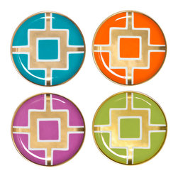 """Jonathan Adler - Jonathan Adler Nixon Coaster Set of 4 - The Jonathan Adler nixon coasters top a table in neoclassical fashion. Funky and fab, this contemporary set's bold shades and gold details offer a stylish perch for drinks. 4"""" Dia; Set of four; Available in assorted teal, orange, purple and yellow; Real gold details; High-fired white porcelain; Hand washing recommended"""