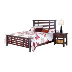 Home Styles - Home Styles Cabin Creek Queen Bed and Night Stand in Chestnut Finish-King - Home Styles - Bedroom Sets - 54116018 - Our Cabin Creek collection conveys a reclaimed wood vintage feel.  Each piece is physically distressed by hand providing a unique one of a kind look.  The Cabin Creek Bed and Night Stand by Home Styles are constructed of mahogany solids and veneers in a multi-step chestnut finish.