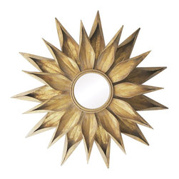 Sterling Industries - Sterling Industries Brakenhead Round Mirror X-612-55 - Curled edges and overlapping petals add elegance to this starburst style Sterling Industries round mirror. From the Brakenhead Collection, this contemporary mirror is floral-like in it's appearance and comes finished in an elegant golden toned hue that pairs beautifully with the details.