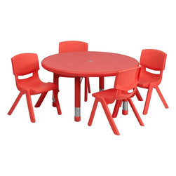 "Flash Furniture - 33"" Adjustable Red Plastic Activity Table Set with 4 School Stack Chairs - This table set is excellent for early childhood development. Primary colors make learning and play time exciting when several colors are arranged in the classroom. The durable table features a plastic top with steel welding underneath along with height adjustable legs. The chair has been properly designed to fit young children to develop proper sitting habits that will last a lifetime."