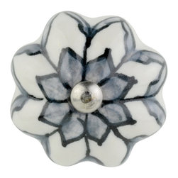 Knob Lovers - Carolina Knob - Edgy and elegant, this Carolina knob has the perfect amount of detail! This ceramic knob features hand painted detail in grey and black. She is set upon a silver mount and topped with a silver cap.
