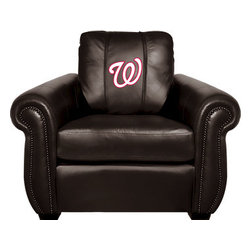 Dreamseat Inc. - Washington Nationals MLB Alt Logo Chesapeake Black Leather Arm Chair - Check out this Awesome Arm Chair. It's the ultimate in traditional styled home leather furniture, and it's one of the coolest things we've ever seen. This is unbelievably comfortable - once you're in it, you won't want to get up. Features a zip-in-zip-out logo panel embroidered with 70,000 stitches. Converts from a solid color to custom-logo furniture in seconds - perfect for a shared or multi-purpose room. Root for several teams? Simply swap the panels out when the seasons change. This is a true statement piece that is perfect for your Man Cave, Game Room, basement or garage.