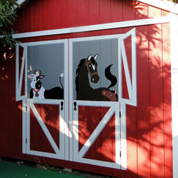 "Farmyard Friends - This  easy-to-do ""Neigh,,""-bors Wall mural depicts a mare and her foal inside the barn door. This image shows the mural painted on an outdoor shed. The actual mural is actually only half of this mural. The customer reversed and painted it again and added in the cow from another mural. Elephants on the Wall"