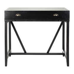Safavieh - Wyatt Writing Desk W/Pull Out - Black - Simple styling is paired with functionality in the Wyatt writing desk. With a top that closes and a pull out writing table, this discreet forty-inch wide and twenty-two inch deep piece makes keeping up with the bills easy.