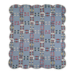 Patch Quilts - Denim Double Wedding Ring Quilt King 105 x 95 - - Intricate  patchwork and beautiful hand quilting.Bedding ensemble from Patch Magic  - The Name for the finest quality quilts and accessories  - Machine washable.Line or Flat dry only Patch Quilts - QKDDWR