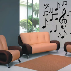 StickONmania - Musical Notes Sticker - A design made of musical notes for your wall. Decorate your home with original vinyl decals made to order in our shop located in the USA. We only use the best equipment and materials to guarantee the everlasting quality of each vinyl sticker. Our original wall art design stickers are easy to apply on most flat surfaces, including slightly textured walls, windows, mirrors, or any smooth surface. Some wall decals may come in multiple pieces due to the size of the design, different sizes of most of our vinyl stickers are available, please message us for a quote. Interior wall decor stickers come with a MATTE finish that is easier to remove from painted surfaces but Exterior stickers for cars,  bathrooms and refrigerators come with a stickier GLOSSY finish that can also be used for exterior purposes. We DO NOT recommend using glossy finish stickers on walls. All of our Vinyl wall decals are removable but not re-positionable, simply peel and stick, no glue or chemicals needed. Our decals always come with instructions and if you order from Houzz we will always add a small thank you gift.