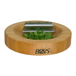 John Boos - Boos Round Herb Board and Mezzaluna Combo - Maple, Reversible - Boos reversible herb cutting board in maple. One side is scooped out for chopping and slicing using the stainless steel rocker knife that comes with the board.