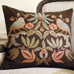 Aleta Embroidered Pillow Cover - The strong fall colors in this almost-folklore style pillow add a lovely pop of color.