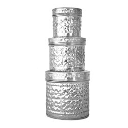 Brilliant Imports : The Bali Collection ~ Baskets & Boxes - {NEW} ALUMINUM TIN SET