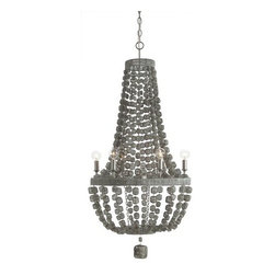 Arteriors - Arteriors Jada 6L Wire Wrapped Chandelier - Weathered metal 6-light chandelier in a matte silver finish features strands of wire wrapped wooden beads. Aadditional chain CHN- 956.