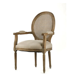 Medallion Cane Back Arm Chair - Limed Grey Oak with Natural Linen - The classic allure of a cameo back joins the refined patterning achieved through rattan work in the Medallion Cane Back Arm Chair, a seating option made of limed grey oak.  Neutral coloring allows the form of this chair to catch the eye in your home without distraction, and the form is traditional and tailored enough to give European-inspired gentility to the tone of the whole room.