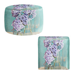 DiaNoche Designs - Ottoman Foot Stool by Sylvia Cook - Hydrangeas in Mason Jars - Lightweight, artistic, bean bag style Ottomans.  Coming in 2 squares sizes and 1 round, you now have a unique place put rest your legs or tush after a long day!. Artist print on all sides. Dye Sublimation printing adheres the ink to the material for long life and durability. Printed top, khaki colored bottom, Machine Washable, Product may vary slightly from image.