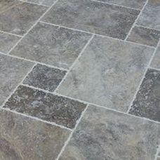 Travertine Tile Silver Antique Pattern Brushed, Chiseled, and Unfilled