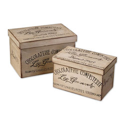 Uttermost - Chocolaterie, Boxes, Set of 2 - Made of genuine fir wood, these boxes feature a distressed, aged ivory finish with burnished details and black accents. Sizes: Sm-10x6x6, Lg-12x8x8