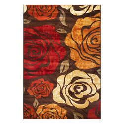 "Lifestyles 5479 Mocha Rose Rug - Lifestyles 5479 Mocha Rose 23"" x 35"". Machine-Made of 100% Heat-set Polypropelene with No Backing. Made in Turkey. Vacuum regularly & spot clean stains. Professional cleaning recommended periodically."