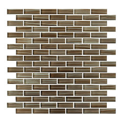 Rocky Point Tile - 10 Square Feet - Creeks Edge Hand Painted Glass Mosaic Subway Tile - Milk chocolate, caramel and rich cocoa add decadent flavor to your kitchen backsplash without the calories. Pair with cream-colored grout for a truly delicious combination.