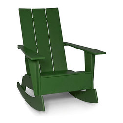 Adirondack Rocker, British Green | Design Within Reach - Design Within Reach's Adirondack rocker gets a modern update in glossy emerald thanks to designers Greg Benson and Jeff Taly, who created this design from recycled plastic.