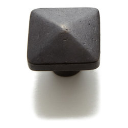 Solid Bronze Pyramid Cabinet Knob - Great for both modern and traditional homes alike, this cabinet knob features a sleek, yet rustic pyramid design. Made of solid sandcast bronze and is offered with a Dark Bronze finish.