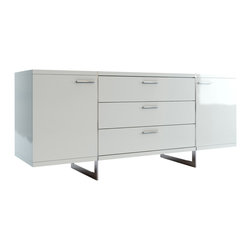 Modloft - Greenwich Sideboard, White Lacquer - Greenwich two-door, three-drawer dining buffet. Finished in luxurious wenge or walnut veneer with the direction of the grain articulating the different sections, this striking buffet appears to be suspended from the stainless steel legs which run from top to floor. Each inside cabinet measures 14.75W x 16D x 18.5H, equipped with a fixed center shelf. Available in wenge or walnut wood finishes. Also available in white lacquer finish. Arrives assembled. Imported.