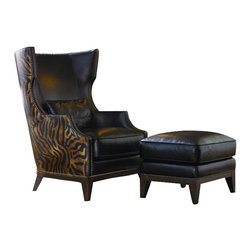 """Chelsea Home Furniture - Chelsea Home Fort Stockton Accent Chair w/ Ottoman in Leather Croc Tobacco/Seren - Accent Chair w/ Ottoman in Leather Croc Tobacco/Serengeti Antique belongs to Fort Stockton Collection by Chelsea Home Furniture This accent chair and ottoman add a """"designer touch"""" to any home's environment. The stylized wing and cut back arm treatment are designed to blend with traditional or transitional settings. A lumbar area pillow is included. A wooden base featuring tapered legs with soft distressed antiquing give the chair and ottoman an elegant, yet understated, look. Accent Chair (1), Ottoman (1)"""