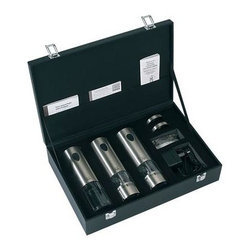 Peugeot - Peugeot Elis Rechargeable Set - A set of one each of Peugeot Elis rechargeable electric products: pepper mill, salt mill (both come with a collection tray and light that illuminates when the mill is in operation and are outfitted with the patented u'Select grind adjustment system); Elis electric corkscrew and a charging transformer. All this in an attractive storage and presentation case.