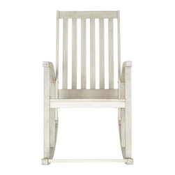 Safavieh - Clayton Rocking Chair - The Clayton rocking chair updates a time-proven country porch classic with new contemporary bentwood sides.  Masterfully crafted of sustainable acacia wood with a grey wash finish, this piece is designed for long wear, comfort and ease of care.