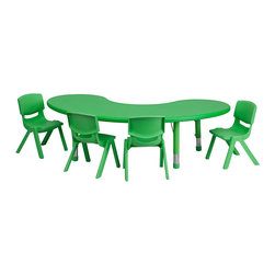 Flash Furniture - Flash Furniture 35 x 65 Adjustable Half-Moon Green Plastic Activity Table Set - This table set is excellent for early childhood development. Primary colors make learning and play time exciting when several colors are arranged in the classroom. The durable table features a plastic top  with steel welding underneath along with Height adjustable legs. The chair has been properly designed to fit young children to develop proper sitting habits that will last a lifetime. [YU-YCX-0043-2-MOON-TBL-GREEN-E-GG]