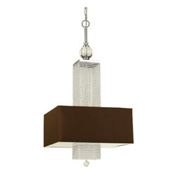 AF Lighting - Candice Olson Casby Glass Bead Three-Light Chandelier - -Silver Accents.  -Chocolate Poly Silk Hard-Back Shade. AF Lighting - 7908-3H