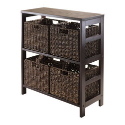 """Winsome Wood - Winsome Wood Granville 5 Piece Storage Shelf w/ 4 Foldable Baskets in Espresso - 5 Piece Storage Shelf w/ 4 Foldable Baskets in Espresso belongs to Granville Collection by Winsome Wood Granville Storage Shelf with Foldable Baskets is perfect to storage and organized your goodies. This set comes with open shelf and four foldable baskets in chocolate color made from corn husk. Shelf assembled size is 25.20""""W x 11.22""""D x 29.21""""H. Shelf is made from combination of solid and composite wood. Foldable corn husk basket is 11.02""""W x 10.24""""D x 9.06""""H when open and folded is at 19.88""""W x 9.45""""D x 2.36""""H. Shelf (1), Basket (4)"""