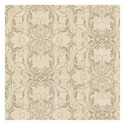 Brewster Home Fashions - Tianna Brass Ironwork Scroll Wallpaper Bolt - A gracious brass patina makes a warm backdrop for the exquisite network of glittery gold scrolls in this lovely wallpaper design.