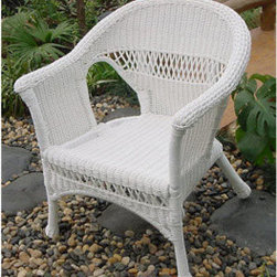 Casual Decor by Kaven - Grand Steel Armchair - White - Wicker Armchair offered in white color in UV protected resin wicker over a power coated steel frame. Great for the front porch, patio, or sunroom.