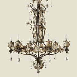 Yosemite Home Decor - Splendido Oxido Six-Light Chandelier without Shade - - UL-rated  - Oxido with gold highlights and faceted crystals  - Built to last metal with glass construction  - Can be installed in your dining area, romanticize a bedroom, and function room  - Overall dimensions: 50 H x 38.5 W x 38.5 D  - 1 year warranty on parts - see packaging for details  - Bulbs not included Yosemite Home Decor - SPJ742
