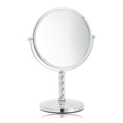 Jerdon LT5165C 8-Inch Tabletop Two-Sided Swivel Mirror with 5x Magnification - The Jerdon LT5165C 8-Inch Tabletop Two-Sided Swivel Mirror is a portable bathroom and makeup mirror that provides magnification options to display a clean reflection whenever you need it. This two-sided circular mirror has an 8-inch diameter and features a smooth 360-degree swivel design that provides 1x and 5x magnification options to make sure every detail of your hair and makeup are in place. The LT5165C stands 13-inches high, stands upright on countertops, vanities and tables and has an attractive chrome finish that protects against moisture and condensation. The Jerdon LT5165C 8-Inch Tabletop Two-Sided Swivel Mirror comes with a 1-year limited warranty that protects against any defects due to faulty material or workmanship. The Jerdon Style company has earned a reputation for excellence in the beauty industry with its broad range of quality cosmetic mirrors (including vanity, lighted and wall mount mirrors), hair dryers and other styling appliances. Since 1977, the Jerdon brand has been a leading provider to the finest homes, hotels, resorts, cruise ships and spas worldwide. The company continues to build its position in the market by both improving its existing line with the latest technology, developing new products and expanding its offerings to meet the growing needs of its customers.