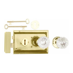 """Renovators Supply - Rim Locks Brass Plated/Glass Knob Rim Lock 4.88"""" L x 3.25"""" H 
