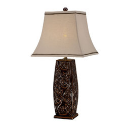 Lite Source - Table Lamp - Coffee Ceramic Body/Fabric Shade - Table Lamp - Coffee Ceramic Body/Fabric Shade