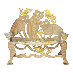Cricket Forge - Cat Bench - This bench is the cats meow with its combination of well crafted art and a sense of humor. Airbrushed in our Tabby Tan with deep tan highlights and shadows. Vibrant yellow birds add a touch of color and whimsy.