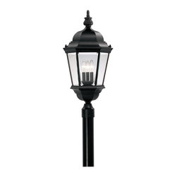 Designers Fountain - Designers Fountain Abbington Traditional Outdoor Post Lantern Light X-KB-6592 - A beautiful botanical finial tops the gazebo-like roof of this charming traditionally styled Designers Fountain outdoor post lantern light. From the Abbington Collection, the candelabra lights and other charming traditional details are complimented by a stylish Black finish. This cast aluminum post light also features clear beveled glass window panes that add to the traditional flair of this design.