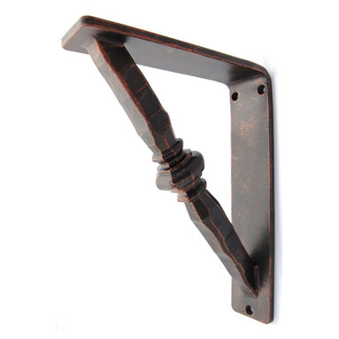 Cooper Iron Bracket - This is a hand-forged iron bracket used for countertop or shelf support.  We offer this in many sizes and finishes. Shown in Oil Rubbed Bronze.