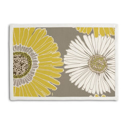 Yellow & Gray Giant Daisy Tailored Placemat Set - Class up your table's act with a set of Tailored Placemats finished with a contemporary contrast border. So pretty you'll want to leave them out well beyond dinner time! We love it in this oversized yellow & gray daisy on cotton sateen. this giant modern floral is sure to drive you daisy!