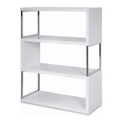 New Spec - Shelf Unit in White - Bookshelf Glossy White. Chrome on Frame. Modular Assemble. 43.31 in. W x 15.35 in. D x 52.36 in. H (76 lbs)