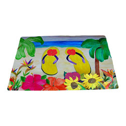 "xmarc - Beach Area Rugs, Flowers And Flip Flops, 96""W X 48""Tall - Beach plush area rug from my art."